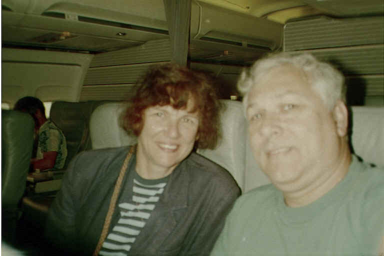 Susan and Charles lucked out despite USAir's flight cancellation and ended up first class in American Airlines from Manchester, NH to Washington, DC.  No such luck the rest of the trip (and the return trip), however, it was coach all the way!