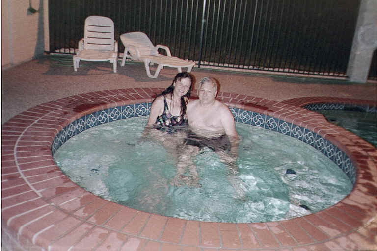 "With the temperature in Cleburne at 107 degrees each evening at 7pm, this hot tub didn't really seem to be too ""hot"" -- but we stayed in until the pool area closed each night!"